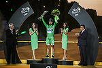 Peter Sagan (SVK) Bora-Hansgrohe wins the points Green Jersey for a record 7th time on the final podium at the end of Stage 21 of the 2019 Tour de France running 128km from Rambouillet to Paris Champs-Elysees, France. 28th July 2019.<br /> Picture: ASO/Thomas Maheux | Cyclefile<br /> All photos usage must carry mandatory copyright credit (© Cyclefile | ASO/Thomas Maheux)