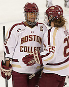 Blake Bolden (BC - 10), Jackie Young (BC - 25) - The Boston College Eagles tied the visiting Boston University Terriers 5-5 on Saturday, November 3, 2012, at Kelley Rink in Conte Forum in Chestnut Hill, Massachusetts.