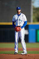 Dunedin Blue Jays pitcher T.J. Zeuch (32) gets ready to deliver a pitch during a game against the Fort Myers Miracle on April 17, 2018 at Dunedin Stadium in Dunedin, Florida.  Dunedin defeated Fort Myers 5-2.  (Mike Janes/Four Seam Images)
