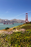 USA, California, San Francisco, a view of the Golden Gate Bridge from the South end, a container ship prepares to pass under