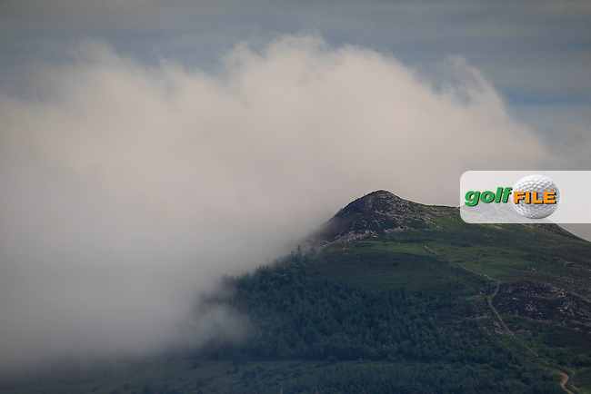 The Little Sugar Loaf mountain during the Saturday Afternoon Fourballs of the 2016 Curtis Cup at Dun Laoghaire Golf Club on Saturday 11th June 2016.<br /> Picture:  Golffile | Thos Caffrey