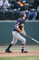 Tanner Dodson (23) of the California Bears bats against the UCLA Bruins at Jackie Robinson Stadium on March 25, 2017 in Los Angeles, California. UCLA defeated California, 9-4. (Larry Goren/Four Seam Images)