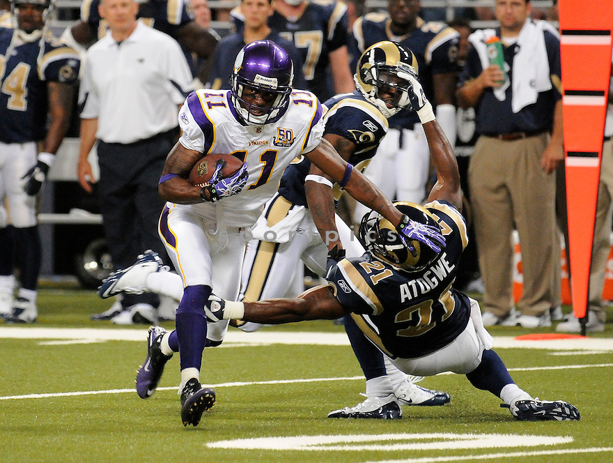 JAYMAR JOHNSON, of the Minnesota Vikings ,in action during the Vikings  game against the  St. Louis Rams at Edward Jones Dome in St. Louis Missouri on August14, 2010.  The Vikings won the game 28-17..