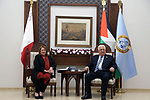 Palestinian President Mahmoud Abbas meets with Malta's President Marie-Louise Coleiro Preca, in the West Bank city Ramallah, on January 31, 2019. Photo by Ahmad Arouri