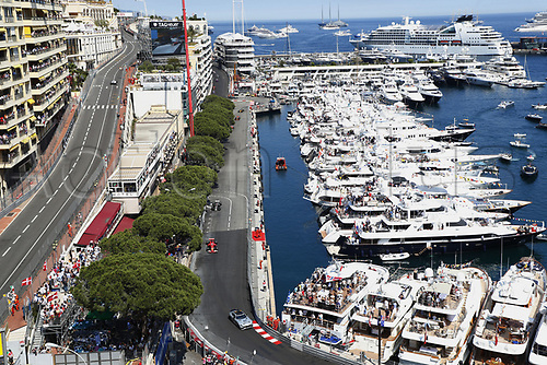 Motorsports: FIA Formula One World Championship 2017, Grand Prix of Monaco, Bernd Maylaender (GER, Safety Car driver) followed by #5 Sebastian Vettel (GER, Scuderia Ferrari) along the marina