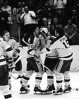 California Golden Seals celebrate goal.<br />