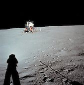 The Moon - (FILE) -- Astronaut Neil A. Armstrong photographs the Apollo 11 Lunar Module Eagle landing site from a distance..Credit: NASA via CNP