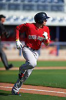GCL Red Sox outfielder Trent Kemp (43) runs to first during the first game of a doubleheader against the GCL Rays on August 4, 2015 at Charlotte Sports Park in Port Charlotte, Florida.  GCL Red Sox defeated the GCL Rays 10-2.  (Mike Janes/Four Seam Images)
