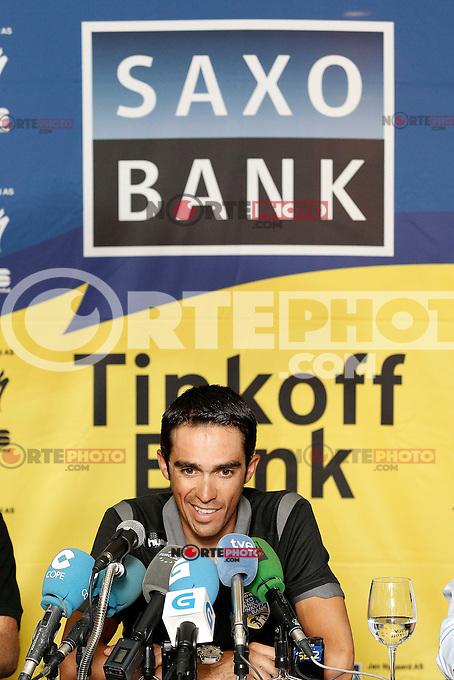 Alberto Contador in press conference during the rest day of La Vuelta 2012.August 27,2012. (ALTERPHOTOS/Acero) /NortePhoto.com<br /> <br /> **CREDITO*OBLIGATORIO** <br /> *No*Venta*A*Terceros*<br /> *No*Sale*So*third*<br /> *** No*Se*Permite*Hacer*Archivo**<br /> *No*Sale*So*third*
