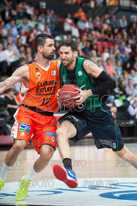 VALENCIA, SPAIN - OCTOBER 18: Sergi Vidal and Rafa Martinez during ENDESA LEAGUE match between Valencia Basket Club and FIATC Joventut at Fonteta Stadium on October 18, 2015 in Valencia, Spain