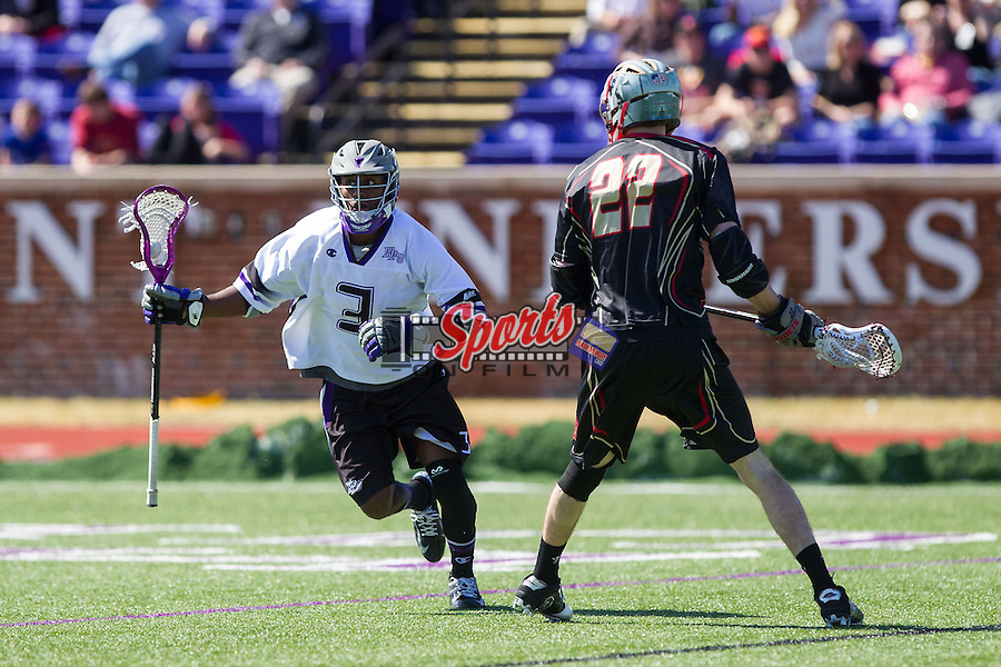 Richard Byrd (3) of the High Point Panthers controls the ball against the VMI Keydets at Vert Track, Soccer & Lacrosse Stadium on March 8, 2014 in High Point, North Carolina.  The Panthers defeated the Keydets 9-8.   (Brian Westerholt/Sports On Film)