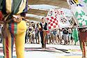 Anita Ghidoni, flag-waver of the Palio of Isola Dovarese, during a performance at Expo 2015, Rho-Pero, Milan, 28 June 2015. The exhibition was attended by about 90 participants, all dressed in costume, to evoke Renaissance festivities in honor of the Marquis Gonzaga. &copy; Carlo Cerchioli<br /> <br /> Anita Ghidoni, sbandieratrice del Palio di Isola Dovarese, durante un'esibizione a Expo 2015, Rho-Pero, Milano, 28 giugno 2015. All'esibizione hanno partecipato circa 90 figuranti, tutti vestiti in costume, per rievocare le feste rinascimentali in onore dei marchesi Gonzaga.