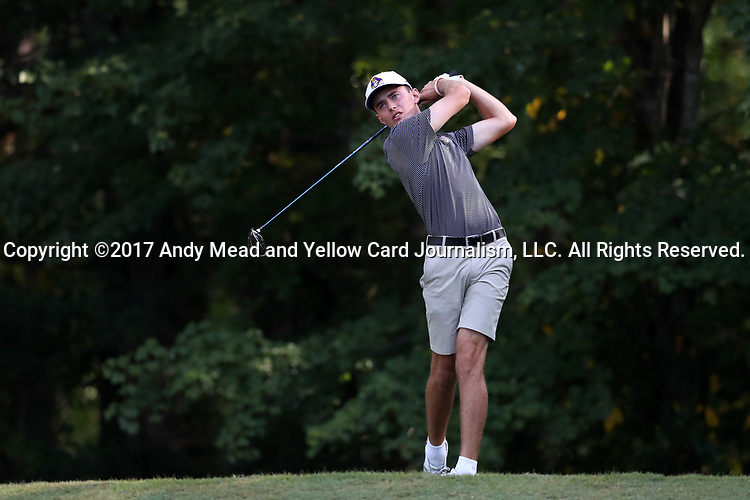 DURHAM, NC - SEPTEMBER 17: East Carolina Chris Akers on the eleventh tee. The third round of the Rod Myers Invitational Men's Golf Tournament was held on September 17, 2017, at the Duke University Golf Club in Durham, NC.
