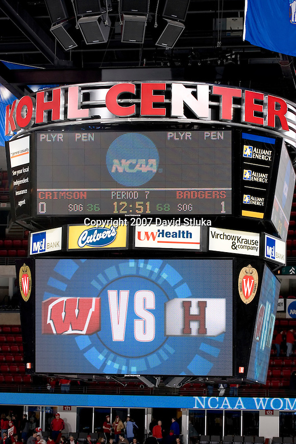 MADISON, WI - MARCH 10: The scoreboard displays the final score during the Wisconsin Badgers women's hockey game against the Harvard Crimson during their NCAA tournament game at the Kohl Center on March 10, 2007 in Madison, Wisconsin. The Badgers beat the Crimson 1-0 in the 7th period. (Photo by David Stluka)