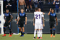 SAN JOSE, CA - JULY 16: Sandro Ramírez Castillo #20 of Real Valladolid celebrates scoring with teammates during a friendly match between the San Jose Earthquakes and Real Valladolid on July 16, 2019 at Avaya Stadium in San Jose, California.