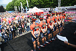 Bahrain-Merida at sign on before the start of Stage 13 of the 2019 Giro d'Italia, running 196km from Pinerolo to Ceresole Reale (Lago Serrù), Italy. 24th May 2019<br /> Picture: Gian Mattia D'Alberto/LaPresse | Cyclefile<br /> <br /> All photos usage must carry mandatory copyright credit (© Cyclefile | Gian Mattia D'Alberto/LaPresse)