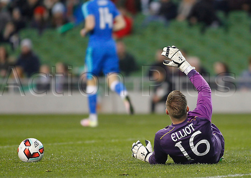 29.03.2016. Aviva Stadium, Dublin, Ireland.  International Football Friendly Ireland versus Slovakia. Rob Elliot (Rep. of Ireland) on the ground injured after the Slovakia goal in the 14th minute.