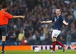 James McFadden moans at referee Wolfgang Stark