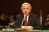 United States Senator Joseph Lieberman (Democrat of Connecticut), the 2000 Democratic Party nominee for Vice President of the United States, testifies before the U.S. Senate Committee on Commerce, Science, and Transportation hearing on marketing Violence to Children in Washington, DC on September 13, 2000.<br /> Credit: Ron Sachs / CNP