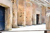 An interior walkway of the Colosseum, also known as the Flavian Amphitheatre, in Rome, Italy on Friday, May 25, 2012.  The holes in the bricks were created by people plundering the iron clamps, which held the stone together without mortar, in the Middle Ages..Credit: Ron Sachs / CNP