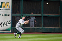 Hawaii Rainbow Warriors outfielder Jonathan Weeks (8) prepares to make a catch during the NCAA baseball game against the Nebraska Cornhuskers on March 7, 2015 at the Houston College Classic held at Minute Maid Park in Houston, Texas. Nebraska defeated Hawaii 4-3. (Andrew Woolley/Four Seam Images)