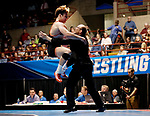 LA CROSSE, WI - MARCH 11: Eric DeVos of Wartburg celebrates with a coach after beating Ben Swarr of Messiah in the 174 weight class during NCAA Division III Men's Wrestling Championship held at the La Crosse Center on March 11, 2017 in La Crosse, Wisconsin. DeVos beat Swarr 10-1 to win the National Championship. (Photo by Carlos Gonzalez/NCAA Photos via Getty Images)