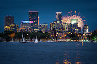 Lake Calhoun in Minneapolis, Minnesota during Fourth of July fireworks.