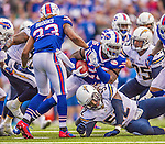 21 September 2014: Buffalo Bills running back Anthony Dixon pushes forward for yardage against the San Diego Chargers at Ralph Wilson Stadium in Orchard Park, NY. The Chargers defeated the Bills 22-10 in AFC play. Mandatory Credit: Ed Wolfstein Photo *** RAW (NEF) Image File Available ***