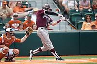 Texas A&M Aggies outfielder Tyler Naquin #18 swings during the NCAA baseball game against the Texas Longhorns on April 28, 2012 at UFCU Disch-Falk Field in Austin, Texas. The Aggies beat the Longhorns 12-4. (Andrew Woolley / Four Seam Images).