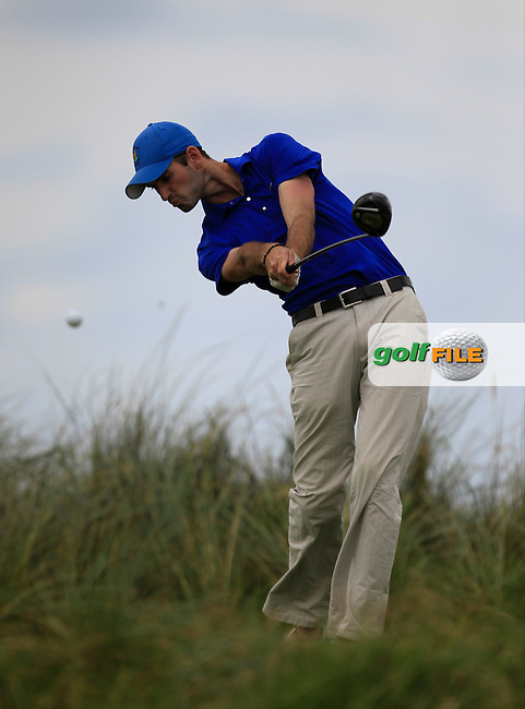 David O'Driscoll(Ballybunion) on the 4th tee during the South of Ireland Amateur Open Championship First Round at Lahinch Golf Club  27th July 2013 <br /> Picture:  Thos Caffrey / www.golffile.ie