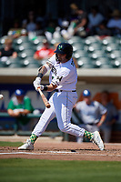 Augusta GreenJackets Frankie Tostado (8) at bat during a South Atlantic League game against the Lexington Legends on April 30, 2019 at SRP Park in Augusta, Georgia.  Augusta defeated Lexington 5-1.  (Mike Janes/Four Seam Images)