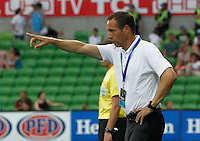 Joan van't Schip gestures   during the  A-League soccer match between Melbourne City FC and Perth Glory at AAMI Park on February 22, 2015 in Melbourne, Australia.