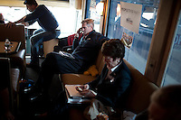 Senator Scott Brown (R-MA) rides his campaign bus with Senator Susan Collins (R-ME) between campaign stops in Framingham and Lowell, Massachusetts, USA, on Thurs., Nov. 2, 2012. Senator Scott Brown is seeking re-election to the Senate.  His opponent is Elizabeth Warren, a democrat.