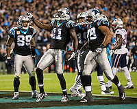 The Carolina Panthers play the New England Patriots at Bank of America Stadium in Charlotte North Carolina on Monday Night Football.  The Panthers defeated the Patriots 24-20.  Carolina Panthers wide receiver Brandon LaFell (11), Carolina Panthers wide receiver Steve Smith (89), Carolina Panthers guard Nate Chandler (78), Carolina Panthers wide receiver Ted Ginn (19) celebrate the Panthers first touchdown