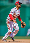 5 April 2018: Washington Nationals third baseman Anthony Rendon in action against the New York Mets at Nationals Park in Washington, DC. The Mets defeated the Nationals 8-2 in the first game of their 3-game series. Mandatory Credit: Ed Wolfstein Photo *** RAW (NEF) Image File Available ***
