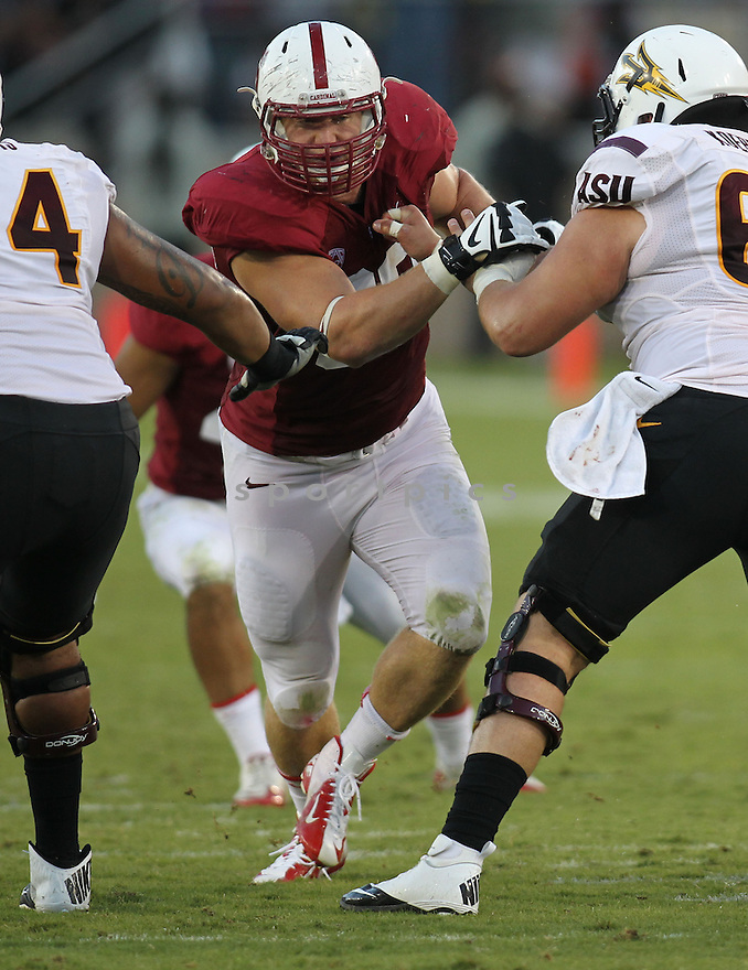 Stanford Cardinal Josh Mauro (90) during a game against Arizona State on September 21, 2013 at Stanford Stadium in Stanford, CA. Stanford beat Arizona State 42-28.