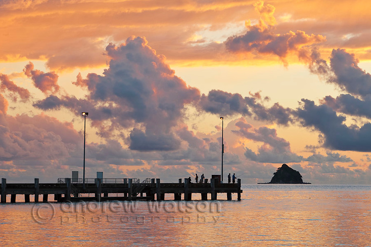 Palm Cove jetty at dawn with Haycock Island in background.  Palm Cove, Cairns, Queensland, AUSTRALIA