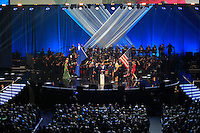 The Europen flag and USS flag come onto stage during the Ryder Cup Gala Concert 2014 at SSE Hydro on Wednesday 24th September 2014.<br /> Picture:  Thos Caffrey / www.golffile.ie