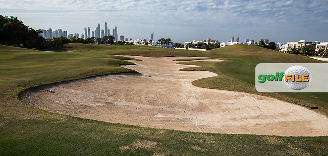 Large front bunker at the 14th green at The Address Montgomerie Golf Club, Dubai, United Arab Emirates.  27/01/2016. Picture: Golffile | David Lloyd<br /> <br /> All photos usage must carry mandatory copyright credit (&copy; Golffile | David Lloyd)