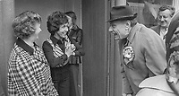 Enoch Powell, Ulster Unionist candidate, South Down, UK General Election, October 1974, has an animated but friendly encounter with some Dromore residents, 28th September 1974, 197409280507<br />