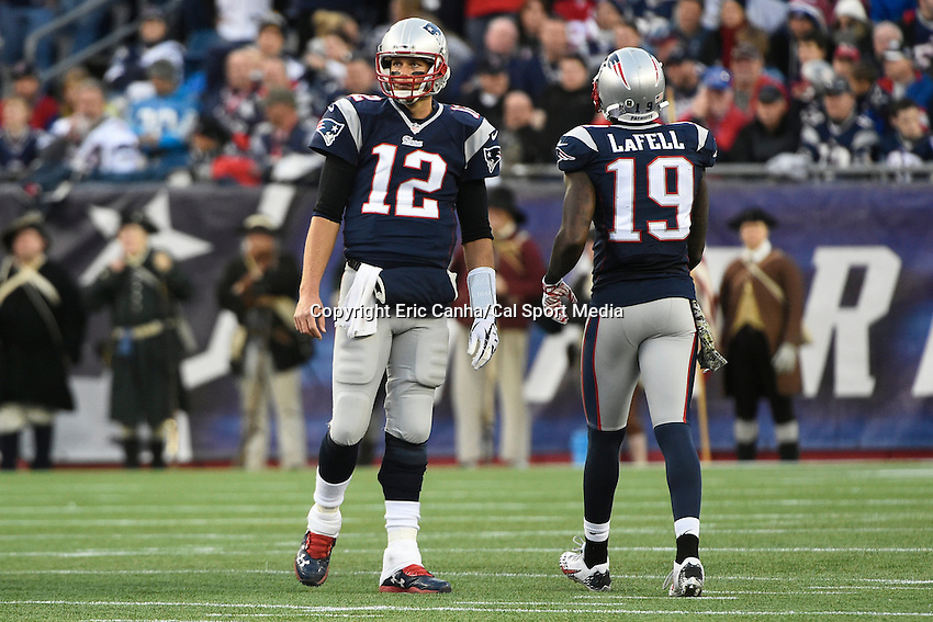 November 23, 2014 - Foxborough, Massachusetts, U.S.- New England Patriots quarterback Tom Brady (12) and wide receiver Brandon LaFell (19) during a break at the NFL game between the Detroit Lions and the New England Patriots held at Gillette Stadium in Foxborough Massachusetts. The Patriots defeated the Lions 34-9. Eric Canha/CSM