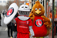 Charlton mascots Sir Valiant and Robyn seen at the Red, White & Black day procession in support of Charlton Athletic Race & Equality Partnership (CARE) during the Sky Bet League 1 match between Charlton Athletic and Fleetwood Town at The Valley, London, England on 17 March 2018. Photo by Carlton Myrie.