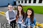 Megan Horgan, Abbeydorney, Sarah Jo Lynch, Blennerville and Eden Abrahams, Tralee Leaving certificate students at on Wednesday