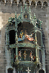 Glockenspiel Rathause in Marienplatz, Munich,Bavaria, Germany.
