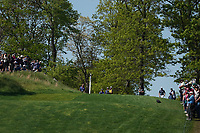 Francesco Molinari (ITA) and Tyrrell Hatton (ENG) on the 18th tee during the 3rd round at the PGA Championship 2019, Beth Page Black, New York, USA. 19/05/2019.<br /> Picture Fran Caffrey / Golffile.ie<br /> <br /> All photo usage must carry mandatory copyright credit (© Golffile | Fran Caffrey)
