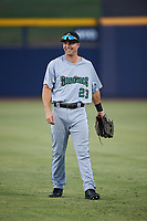 Surprise Saguaros Brewer Hicklen (23), of the Kansas City Royals organization, warms up before an Arizona Fall League game against the Peoria Javelinas on September 22, 2019 at Peoria Sports Complex in Peoria, Arizona. Surprise defeated Peoria 2-1. (Zachary Lucy/Four Seam Images)