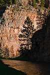 Sunlight on a rock wall in the Smith River corridor