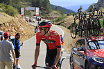 Phil Bauhaus (GER) Bagrain-Merida after taking a tumble earlier in the stage on the final Cat 1 climb up to Observatorio Astrofisico de Javalambre during Stage 5 of La Vuelta 2019 running 170.7km from L'Eliana to Observatorio Astrofisico de Javalambre, Spain. 28th August 2019.<br /> Picture: Eoin Clarke | Cyclefile<br /> <br /> All photos usage must carry mandatory copyright credit (© Cyclefile | Eoin Clarke)