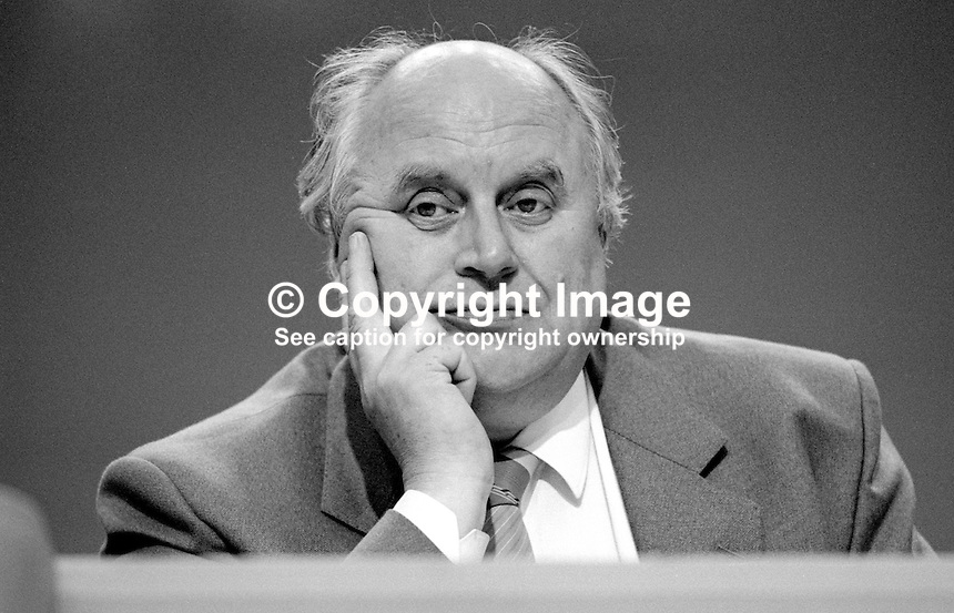 Norman Willis, general secretary, Trades Union Congress, UK, on platform at annual conference September 1986. 19860911NW4<br />