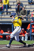 Michigan Wolverines shortstop Michael Brdar (9) swings the bat against the Illinois Fighting Illini during the NCAA baseball game on April 8, 2017 at Ray Fisher Stadium in Ann Arbor, Michigan. Michigan defeated Illinois 7-0. (Andrew Woolley/Four Seam Images)